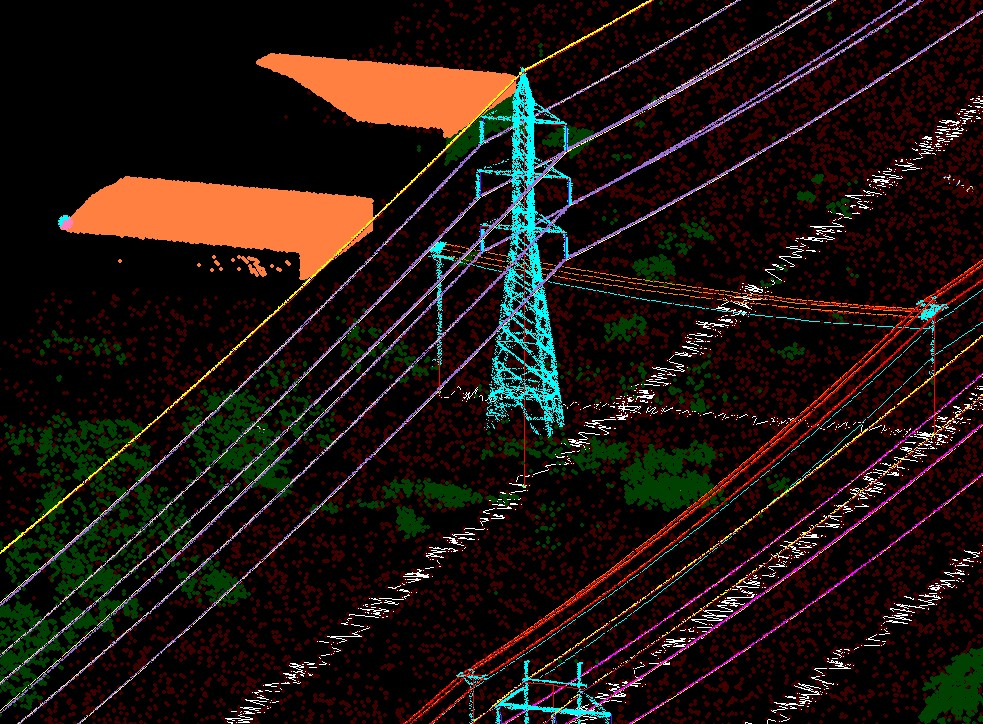 Lidar data processing of power lines